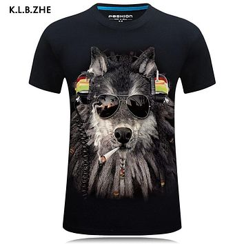 3d Print Wolf Men Summer Top Short Sleeve O-Neck T shirts