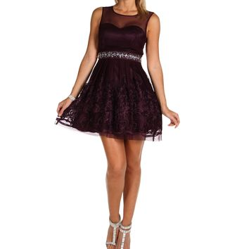 Sybil- Plum Homecoming Dress