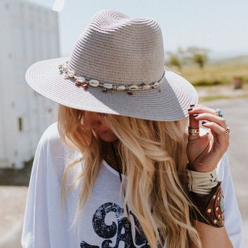 Seashore Mist Shell Trim Sunhat - Gray