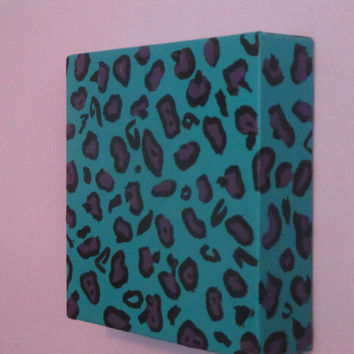 Aqua and Purple Abstract Painting, little square canvas, Leopard print art, funky teen decor