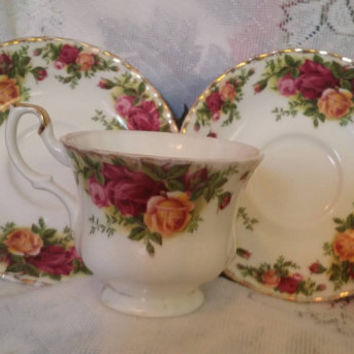 1962 Royal Albert Country Roses cup and 2 saucers, Royal Albert bone China from England cup & saucers, Vintage Tea cup saucers, Tea Party