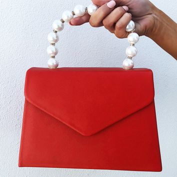 Enjoy The Little Things Purse: Red/Pearl