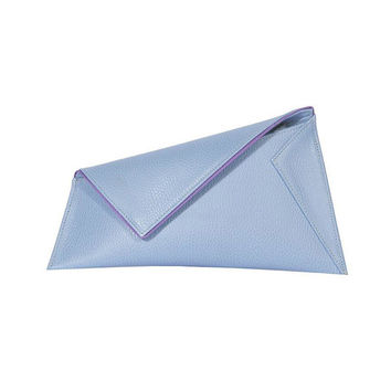 Baby Blue Leather Asymmetric Clutch