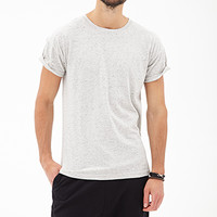Heathered Cuff-Sleeve Tee Heather Grey