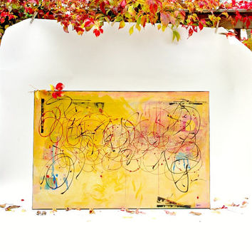Original Abstract Painting Contemporary art Mustard Yellow Large wall art on 24x36 canvas