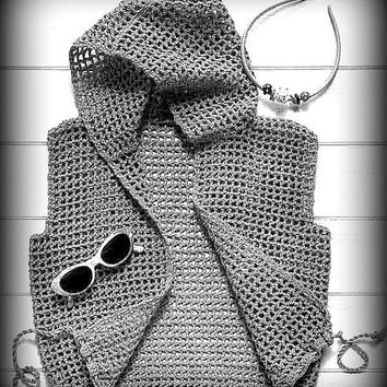 Crochet Hooded Vest Sleeveless Cardigan Vest Women's Clothing Fashion Accessories Gift Ideas Teen to Adult Made to Order