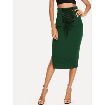Grommet Lace Up Split Midi Skirt Green