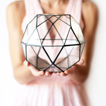 Geometric Indoor Planter / Stained Glass Terrarium Container / Modern Planter for Indoor Gardening / Icosidodecahedron / Copper Planter