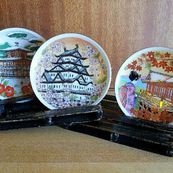 Oriental Japanese Charger Plate Set Porcelain Hand Painted