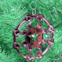 Intricate Christmas Ornament Pink Mirrored Acrylic with Glitter Laser Cut