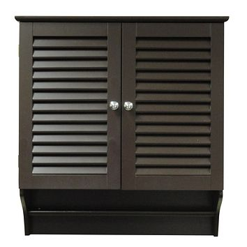 2 Door Bathroom Wall Cabinet with Towel Bar in Espresso