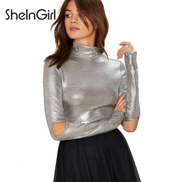 SheInGirl New Fashion Sexy Women T-shirt Elegant Silver Cut Out Sleath Party Tees High Collar Long Sleeve Streetwear Casual Top
