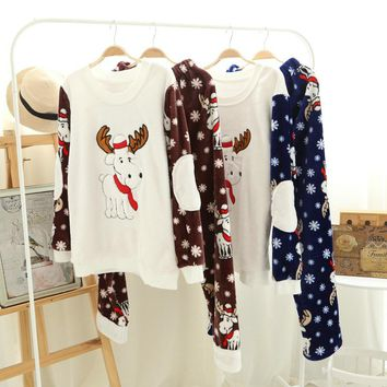 autumn winter couples flannel home clothing men pyjamas women sleepwear Christmas deer prints Nightwear Suits homme