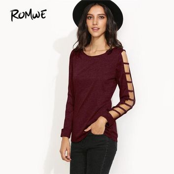 Sexy Cut Out Sleeve T-shirt Women Round Neck Autumn Tops Burgundy Fashion Long Sleeve Casual T-shirt