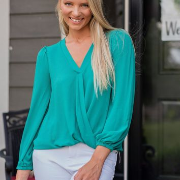 Away We Went Puff Sleeve Top : Kelly Green