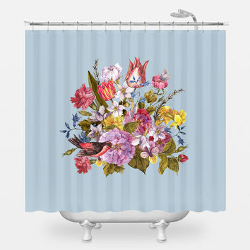 Budding Bouquet on Blue Shower Curtain