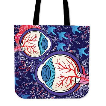 Eyeball Illustration Linen Tote Bag
