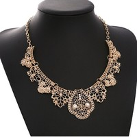 Yazilind European Gorgeous Hollow Flower Gold Plated Collar Chain Bib Temperament Necklace