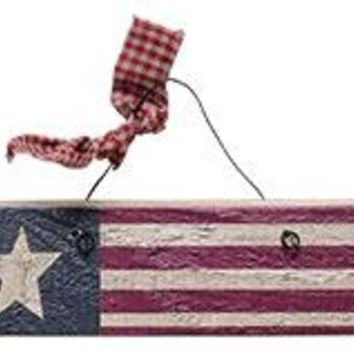 Antiqued Wood Flag Ornament