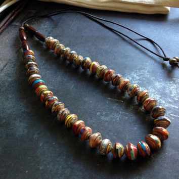 Handmade necklace, Paper bead necklace, Fashion trend, Comfortable and lightweight