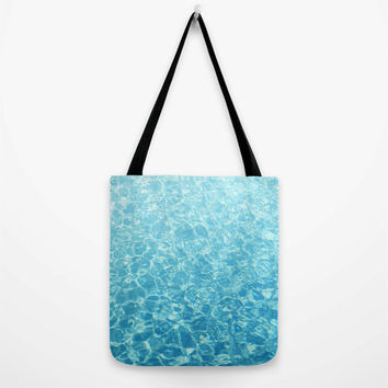Crystal Oceans - Tote Bag, Caribbean Blue Aqua Water Pattern Style, Boho Chic Beach Surf Fashion Accessory Sling Bag. In Basic & Adjustable