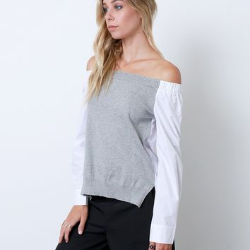Mix It Up Off-Shoulder Shirt - Gray/White