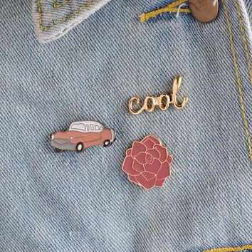 3pcs/set Vintage cool Classic Car Rose Flower Brooch Button Pins Denim Jacket Pin Badge for Bags Cartoon Fashion Jewelry Gift