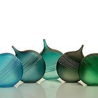 Tipped Bottle Ensemble: David Royce: Art Glass Bottles - Artful Home
