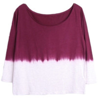 ROMWE | Dark-red Dyed T-shirt, The Latest Street Fashion