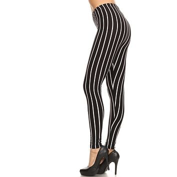 Women's Plus Vertical Thick Striped Pattern Print Leggings - Black White