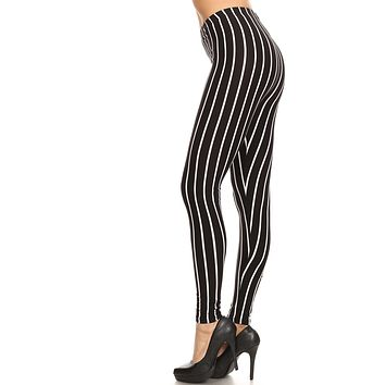 Women's Regular Vertical Thick Striped Pattern Print Leggings - Black White