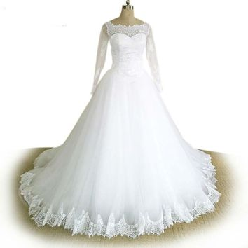Long Sleeve Muslim Wedding Dress Court Train Lace Tulle Ball Gown Bridal Dresses Robe