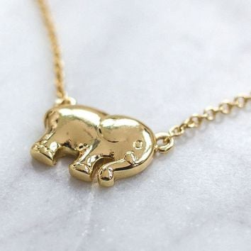 Gold Solid Charm Necklace