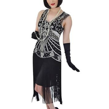 Black Silver Beaded Fringed Anita Flapper Dress