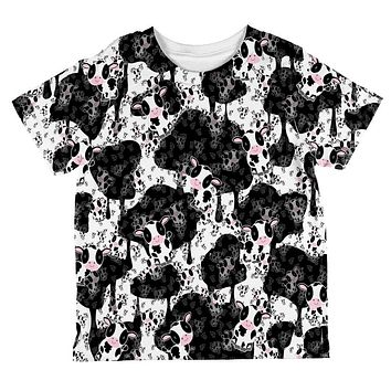 Cute Mad Cow Pattern All Over Toddler T Shirt