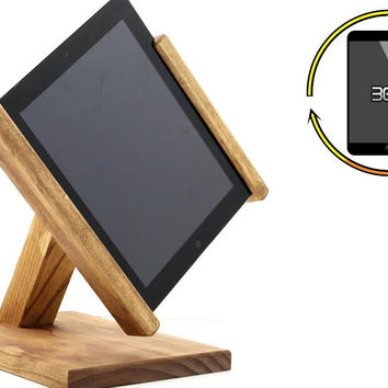 Rotating Wooden iPad and Tablet Stand