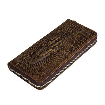 Men's Wallet hommes 2016 Coin Purses Holders Genuine Leather 3D Embossing Alligator Fashion Crocodile Long Clutch Wallets  8067