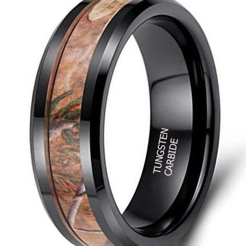 CERTIFIED 8mm Camo Rings Black Ceramic Camouflage Wedding Band