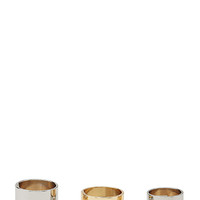 FOREVER 21 Plated & Etched Ring Set Silver/Gold