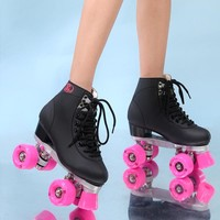 RENIAEVER  double roller skates, 4 skating shoe, pink wheels, black shoes ,free shipping