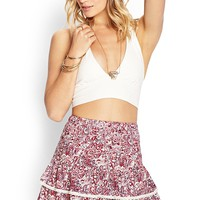 Tiered Paisley Skirt