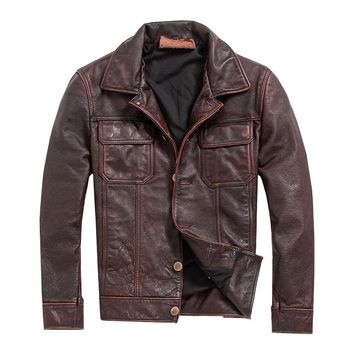 Free .vintage Brown mens slim coat,men cowhide Jackets,genuine Leather jacket.casual Fitness plus size biker clothes