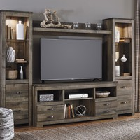 4 pc Trinell collection warm brown rustic plank finish wood tv entertainment center
