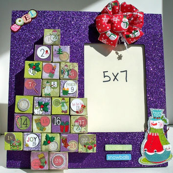 Advent Calendar - Christmas Picture Frame - Purple Christmas Decorations - Personalized