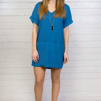 Elisa Solid V-Neck Shift Dress