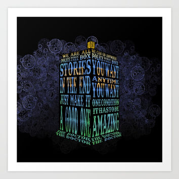Tardis Doctor who Typography iPhone, ipod, ipad, pillow case and tshirt Art Print by Three Second