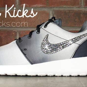 Women's Nike Roshe One Casual Shoes By Glitter Kicks - Customized With Swarovski Crystal Rhinestones - Black, White