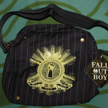Fall Out Boy Pinstripe Black Messenger Bag backpack tote purse new with tag handbag secret pocket accessory casual every day band shirt tee