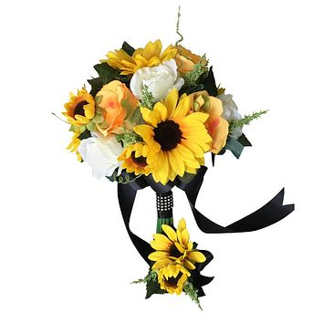 2pc Set - Sunflower and Rose bouquet and boutonniere set