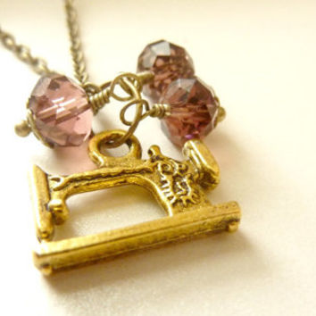 Sewing machine necklace Seamstress jewelry Vintage necklace brass charm garnet crystal beads